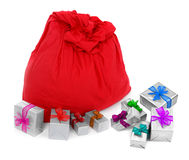 Sack of Santa Claus and colorful gifts Stock Images