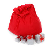 Sack of Santa Claus and gifts Stock Photo