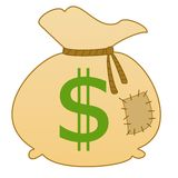 Sack with a sign dollars. Bandaged by a rope, illustration on a white background Royalty Free Stock Photography