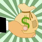Sack with a sign dollars on a hand, illustration. On a green background Stock Images