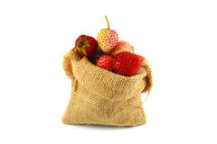 Sack of strawberries Royalty Free Stock Image