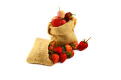 Sack of strawberries Stock Photos