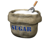 Sack of sugar. Isolated illustration of an open sack containing sugar Stock Photos