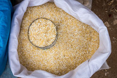 A sack of Thai rice grains in fresh market Royalty Free Stock Image