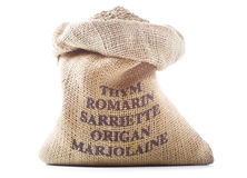 Sack with various herbs Royalty Free Stock Images