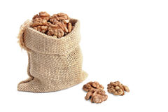 Sack with walnut Royalty Free Stock Images