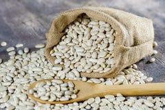Sack with white beans Stock Photos