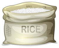 A sack of white rice Stock Photo