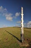 Sackartiger Punktküstenwachen-Wrackbeitrag auf dem Südwestküsten-Weg, Nord Stockfoto