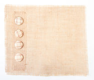 Sackcloth baner with buttons as  decor Stock Photo