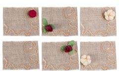 Sackcloth and Flower Decoration, Burlap Fabric Label Patch Set, Rustic Sack Cloth Piece royalty free stock photos