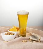 Sackcloth, glass of beer, pistachio, salty fish Stock Image