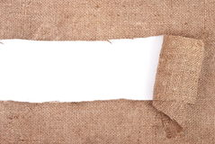 Sackcloth material border Royalty Free Stock Photos