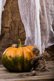 Sackcloth puppet with squash Stock Photos