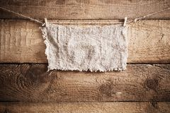 Sackcloth on wooden background Stock Photo