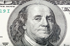 Sacked macro portrait of Benjamin Franklin. High resolution photo Stock Photo