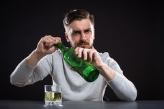 Sacked Manager With Bottle Royalty Free Stock Photos