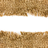Sacking border. Burlap border with copy space for your text royalty free stock photos