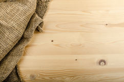 Sacking on wood background Royalty Free Stock Photo