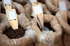 Sacks of Coffee Beans. A photograph of coffee beans in sacks for sale Royalty Free Stock Photography