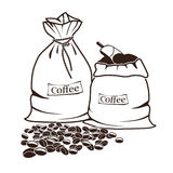 Sacks of coffee and coffee beans Stock Photos