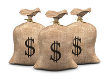 Sacks of dollars Stock Images