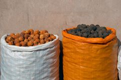 Sacks of Dried Fruit Stock Images