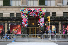 Sacks Fifth Avenue luxury department store Holidays decoration titled `Land of 1000 Delights` in Manhattan Royalty Free Stock Images