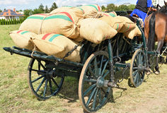 Sacks of flour on the carriage Royalty Free Stock Photography