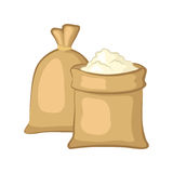 Sacks of flour. Isolated on white background. Cartoon icon. Vector illustration royalty free illustration