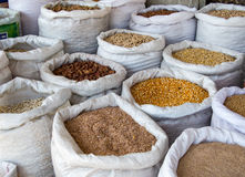 Sacks of Grain. And cereals in bulk Stock Photos