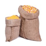 Sacks of grain and corn groats  Royalty Free Stock Image