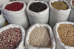 Sacks with Legumes Beans Market Royalty Free Stock Photography