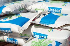 Paper sacks of Linseed grain Stock Photography