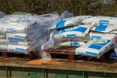 Paper sacks of Linseed grain Stock Photo