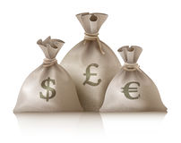 Sacks with money currencies dollar euro and pound Stock Images