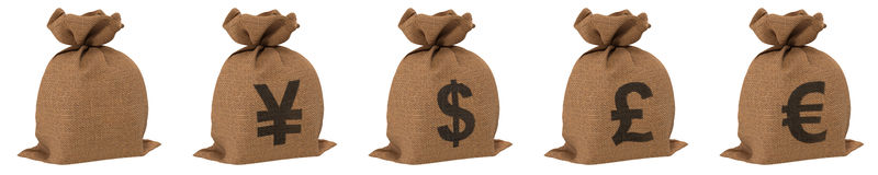 Sacks with money different currencies dollar euro yen and pound. Isolated on white. 3D illustration Royalty Free Stock Photo