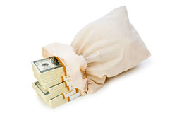 Sacks of money isolated Royalty Free Stock Photos