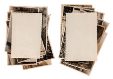 Sacks of old photographs. With blank photo on the top Royalty Free Stock Photos