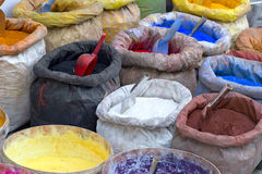 Sacks with paint pigment Royalty Free Stock Photo