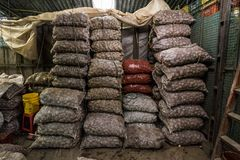 Sacks of Potatoes at Paloqumao Market Bogotá. Large sacks of potatoes stacked at the Paloquemao a traditional South American Fruit and Vegetable Market in stock photography