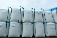 Sacks of salt in the saltworks. Sacks stacked one on top of the other in the salt flats of Sanlucar de Barrameda, Spain, at the mouth of the Guadalquivir river Stock Photos