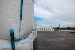 Sacks of salt in the saltworks. Sacks stacked one on top of the other in the salt flats of Sanlucar de Barrameda, Spain, at the mouth of the Guadalquivir river Royalty Free Stock Images