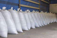 Sacks stacked in the truck Royalty Free Stock Photo