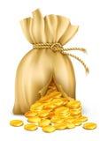 Saco agrietado atado con alambre por la cuerda con las monedas de oro Imágenes de archivo libres de regalías