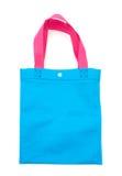Saco azul de pano ou saco da tela com tem levando cor-de-rosa do modelo da correia Imagens de Stock Royalty Free