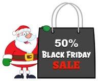 Saco Black Friday de Santa Claus Cartoon Character Showing Shopping ilustração stock