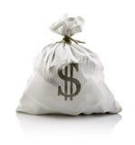 Saco blanco con el dinero de los dólares Imagen de archivo libre de regalías