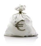 Saco branco com euro- dinheiro Foto de Stock Royalty Free
