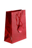 Saco brilhante vermelho do presente Fotografia de Stock Royalty Free